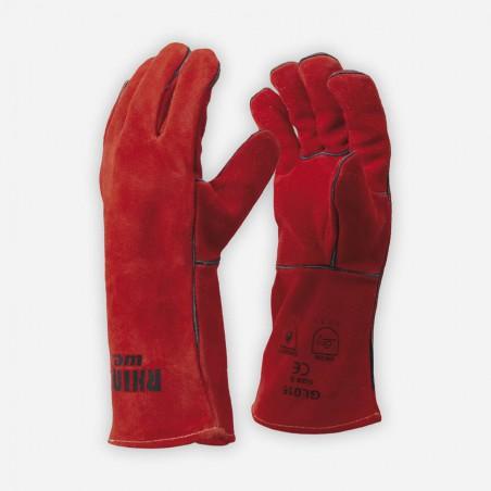 Rękawice spawalnicze MIG/MAG RhinoWeld GL016 czerwone
